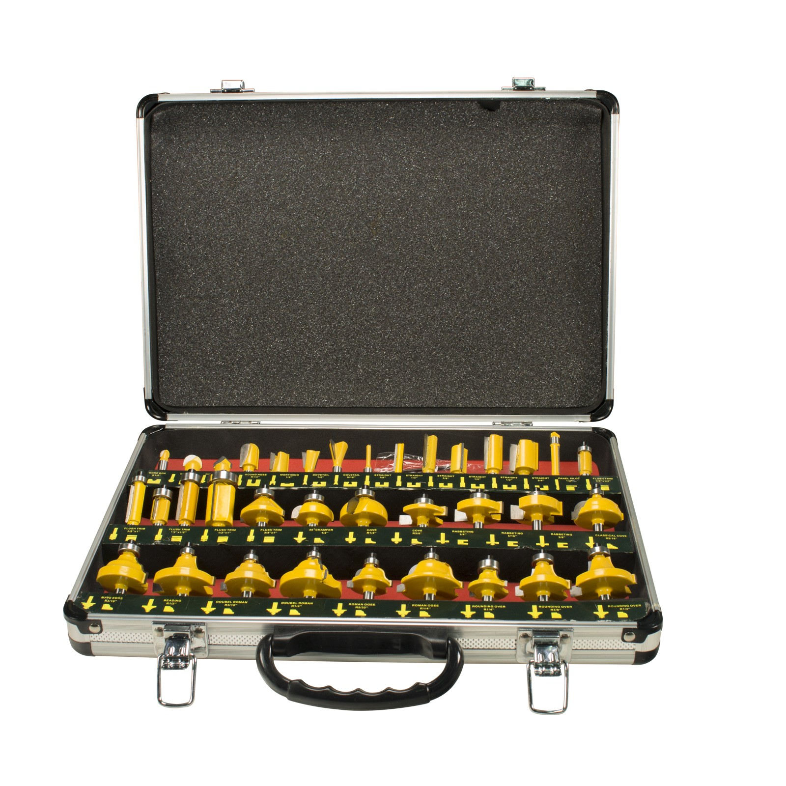 """Erie Tools 35 Piece 1/4"""" Shank Router Bit Set With Tungsten Carbide Tips"""