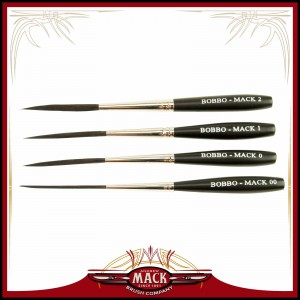 Andrew Mack Series Bobbo-Mack Super Quad Scroll Pinstriper Brush Blue Squirrel & Black Synthetic Hair Size 00 - 2