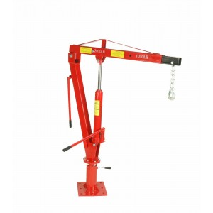Dragway Tools 1 Ton Davit Crane with Swivel Base Hydraulic Jack & Foldable Arm