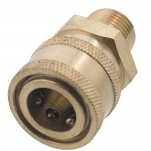 "Erie Tools 3/8"" MPT Male Brass Socket Quick Connect Coupler"