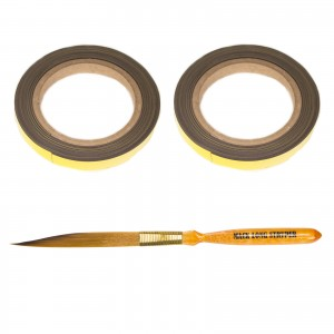 Two Rolls of Flexible and Reusable Andrew Mack Magnetic Tape Mack Mags and Long Stryper Brush 00 for Pinstriping