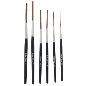 Andrew Mack Brush Von Dago Saber Liner Set of 6 Sizes 4/0-6