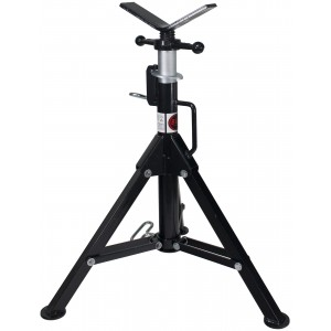 B&B Pipe 3900 High-Profile Adjustable Pipe Jack Stand with V-Head Folding Legs