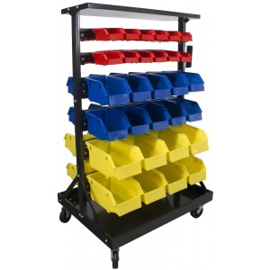 Erie Tools 60 Bin Double-Sided Parts Storage Rack with Locking Wheels