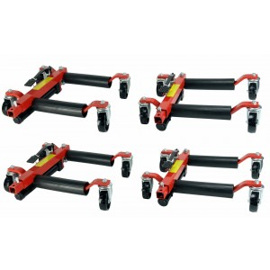 (4) Dragway Tools 12in. Hydraulic Wheel Dolly Vehicle Positioning Jack