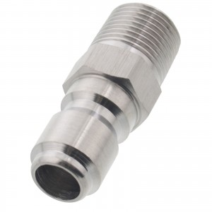 "Erie Tools Pressure Washer 3/8"" Male NPT to Quick Connect Plug Steel Coupler"