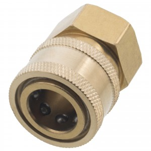 Erie Tools 3/8in. Brass Socket Quick Connect Coupler NPT-F Female 4000 PSI